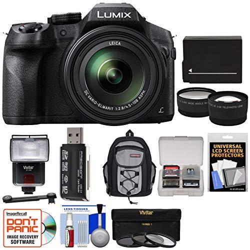 Panasonic Lumix DMC-FZ300 4K Wi-Fi Digital Camera with 32GB Card + Battery + Backpack + Flash + Filters + Tele/Widee Lens Kit