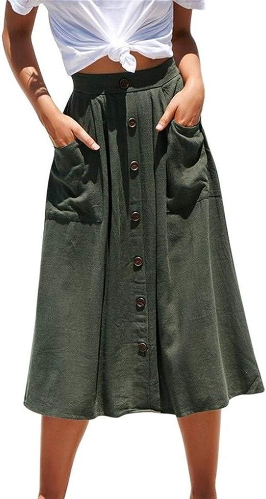 Huisongda Faldas Casuales de Las Mujeres, Botones de Cintura Alta ...