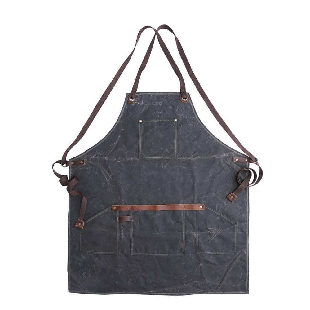 Zhao Xiemao Women Men Aprons Waxed Canvas Shop Apron | Heavy Duty Work Apron for Men & Women with Pocket & Cross-Back Straps | Adjustable Tool Apron (Color : Army Green) by Zhao Xiemao