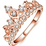 Women Fashion Simple Jewelry Princess Rose Gold Plating Crown Zircon Finger Ring WelcomeShop (7)
