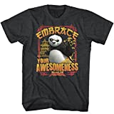 Kung Fu Panda Mens Embrace Awesomeness T-Shirt Black Heather