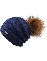 f48e8612326 Winter Real Fur Pom Beanie Hat Warm Oversized Chunky Cable Knit Slouch Beanie  Hats for Women
