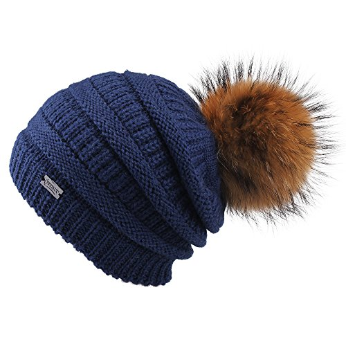 FURTALK Winter Fur Pom Pom Hat - Warm Knit Slouchy Beanie Hats for Women Chunky Soft Stretch Cable Caps Original (one Size, Navy)