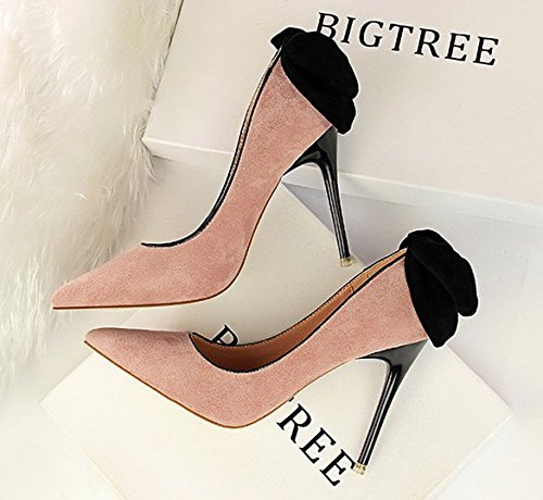 Shoes Shallow Elegant Fashion Bow Heeled Mouth MDRW High Spring Tip Pink Leisure Shoes 5Cm 9 Work All Thin Shoes Lady 36 Match T5Bq4