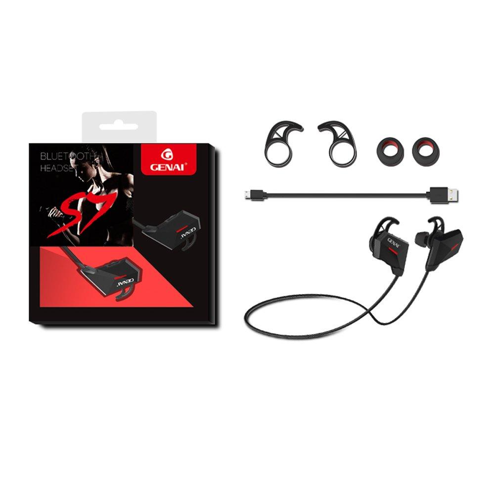 Genai auriculares Bluetooth mejor Wireless Deportes Auriculares HD estéreo a prueba de sudor resistente al agua auriculares para gimnasio correr ...