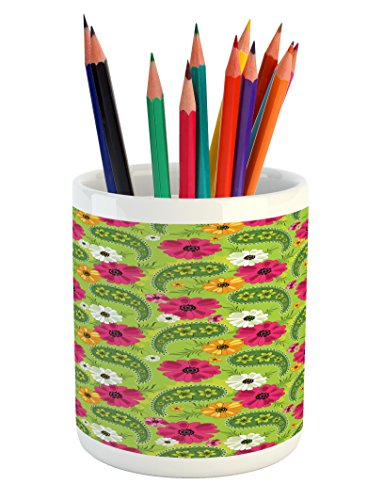 ncil Pen Holder, Floral Pattern with Vivid Paisley Print Old Vintage Boho Style Print, Printed Ceramic Pencil Pen Holder for Desk Office Accessory, Pistachio Pink Orange ()