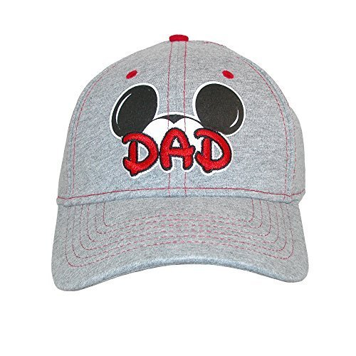 Disney Mens Cotton Mickey Mouse Dad Fan Baseball Cap, Grey