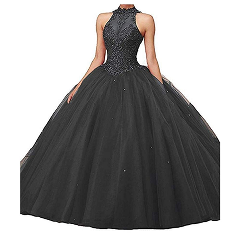 Black Aiyue Yishen VNeck Lace Appiliques Ball Gown 16 Quinceanera Backless Evening Dress