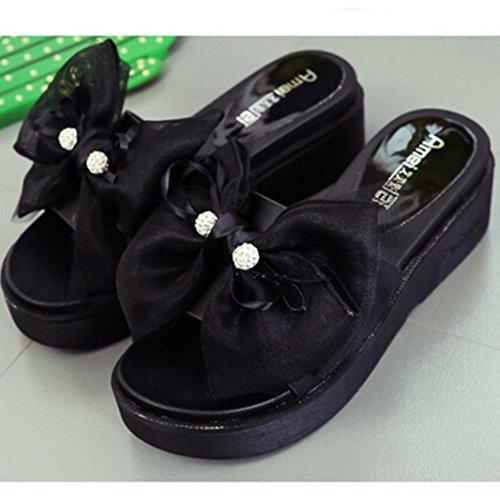 Transer® Damen Flach Slipper Leder+Gummi Schwarz Grau Himmelblau Weiß Hausschuhe mit Groß Bowknot Gr.35-39 Schwarz