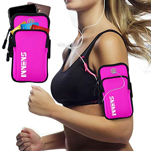 Innens Arm Bag, Universal Sports Fitness Armband with Earphone Jack Designed for iPhone X 8 7 6 6S Plus, Galaxy S10 S9 Plus S10E S9 S8 S7 Edge S6 Edge - Running, Gym, Outdoor, Workout (A-Rose)
