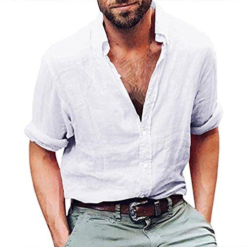 vermers Mens Tops Mens Long Sleeve Henley Shirt Cotton Linen Beach Yoga Loose Fit Blouse(L, White)