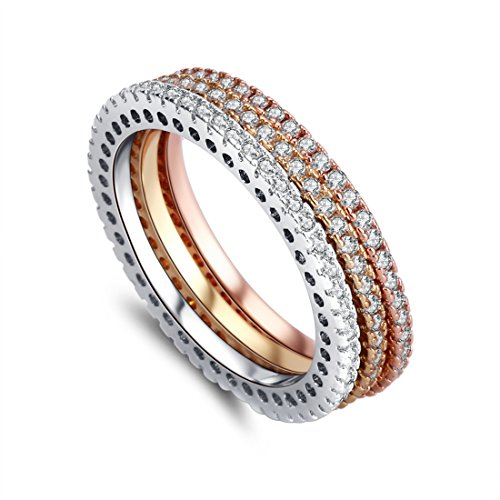 CRARINE Women's Stacking Ring Pave Cubic Zircon Eternity Promise Ring Flower Top Infinity Wedding Band - 1#Rose-gold … (Stacking Ring)
