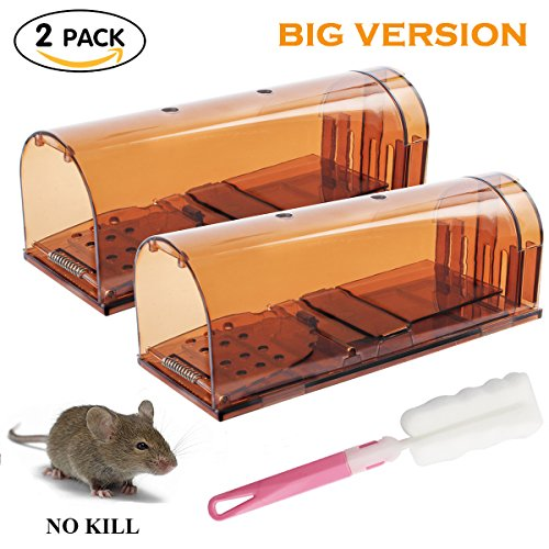 Bigger Cages (Humane Mouse Trap Bigger Version Mice Alive No Kill Rodent Trap Rat Trap for Home Kitchen Garden Catch and Release Trap, Safe For Children and Pet (4Pack and 1 Brush))