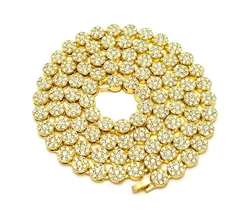 Mens Icedout 14k Yellow Gold Finish Cubic Zirconia 36