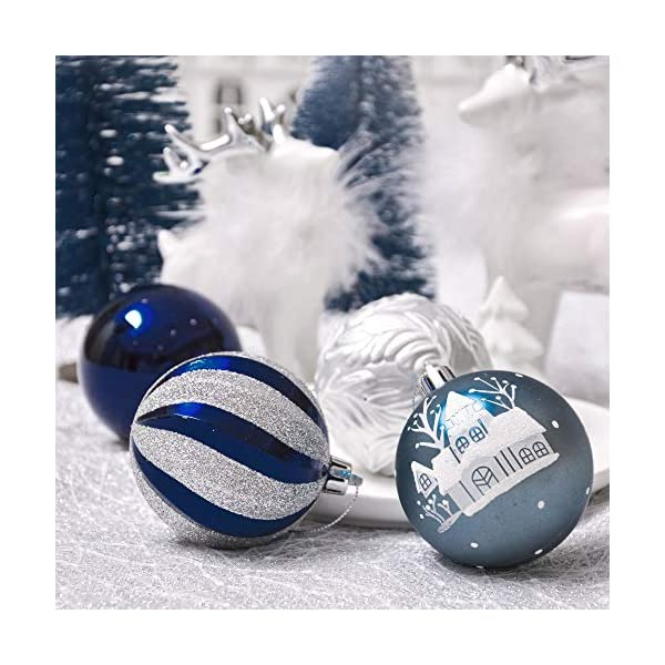 Valery Madelyn Palle di Natale 24 Pezzi 7cm Palline di Natale, Auguri Invernali Argento e Blu Infrangibili Ornamenti Palla di Natale Decorazione per la Decorazione Dell'Albero di Natale 6 spesavip