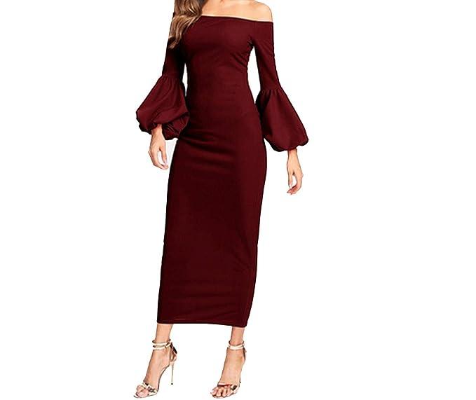 064c4527ce1 Burgundy Off The Shoulder Lantern Sleeve Bardot Bodycon Party Long Dress  Women at Amazon Women s Clothing store