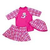 UV SKINZ UPF 50+ Girl's 3-Piece Swim Set (12/18m, Hot Pink Mermaid)