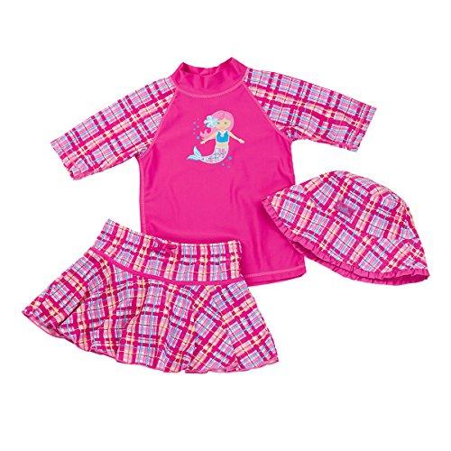 Complete Protection Briefs (UV Skinz Girls' 3-piece Swim Set. UPF 50+ Sun Protection Swim Set (7, Hot Pink Mermaid))