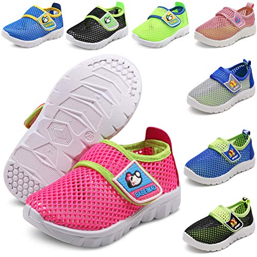 (DADAWEN Baby's Boy's Girl's Water Shoes Lightweight Breathable Mesh Running Sneakers Sandals Hot Pink US Size 6 M Toddler)