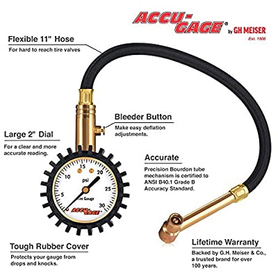 Accu-Gage RRA30X Low Pressure Tire Pressure Gauge with Protective Rubber Guard, Right Angle Chuck, 30 PSI: Automotive