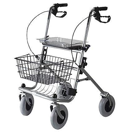 Andador de 4 ruedas plegable con cesta y bandeja