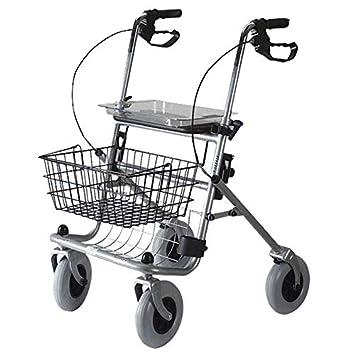 Andador de 4 ruedas plegable con cesta y bandeja: Amazon.es ...