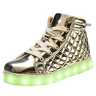 COODO CD2005 Kids and Women High Top LED Light up Shoes Fashion Flashing Sneakers GOLD-10
