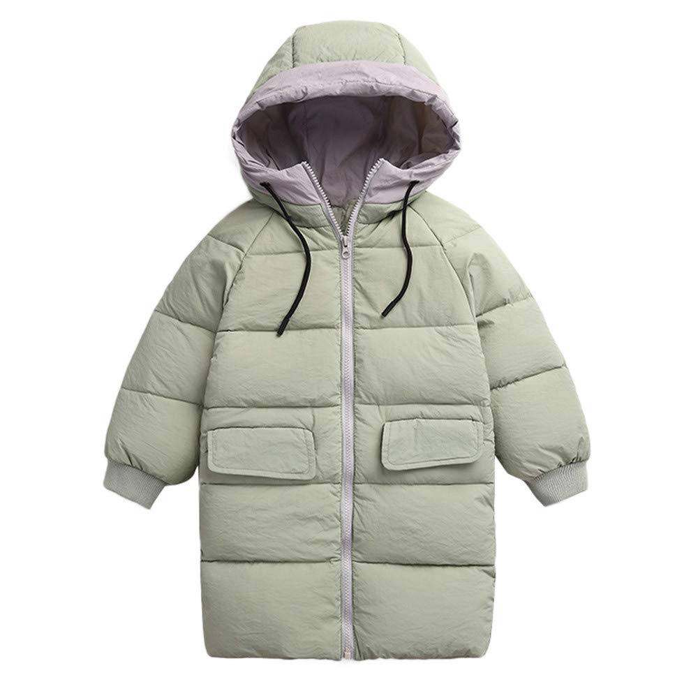 Geetobby Children Cotton Coat Long Sleeve Thick Hooded Drawstring Pocket Jacket
