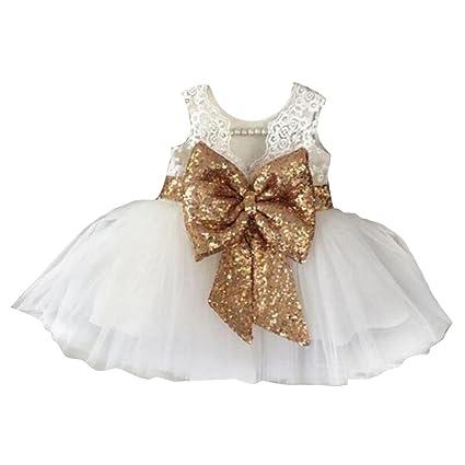 a3cdd44b6 hibote Niñas bowknot encaje Princesa Falda Summer Sequins Vestidos para Bebés  niños pequeños 0-5