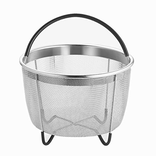 UMIGO Steamer Basket for 6 qt Instant Pot Stainless Steel Pressure Cooker Accessories Strainer and Insert with Silicone Covered Handle and Non-Slip Legs Great for Steaming Vegetables Fruits Eggs