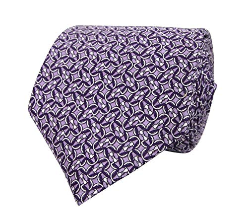 Gucci Men's Monogram Horsebit Print Purple Lavender Silk Neck Tie 336249 5370