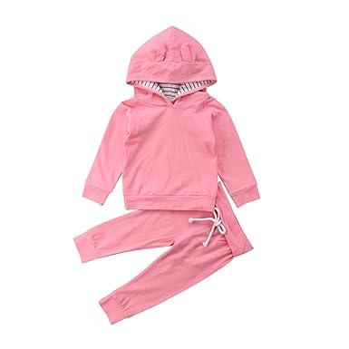 b3c26cc9a Amazon.com  2Pcs Newborn Baby Girl Clothes Pink Rabbit Hooded ...