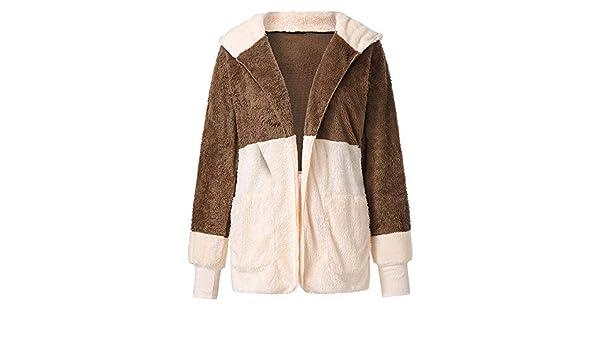 Amazon.com: AOJIAN Women Jacket Long Sleeve Outwear Hooded Plush Contrast Draped Open Front Plus Size Outercoat Coat: Clothing
