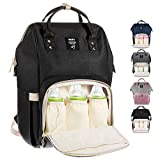 MUIFA Diaper Bag Backpack Multi-Function Waterproof Travel Backpack Nappy Bag for Baby Care with Insulated Pockets, Large Capacity, Durable (Black)