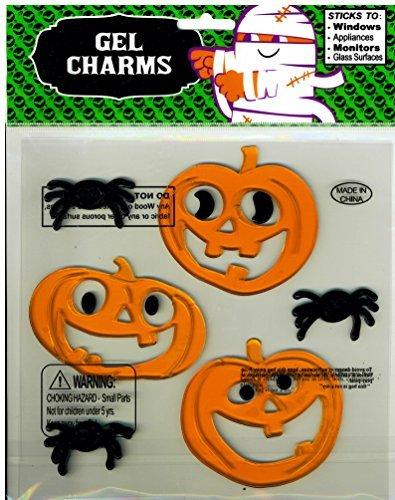 Jack-O-Lanterns Bats Pumpkins Halloween Gel Window Clings