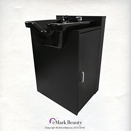 Salon Shampoo Square Bowl Spa Equipment Black Cabinet TLC-B11-FC by eMark Beauty