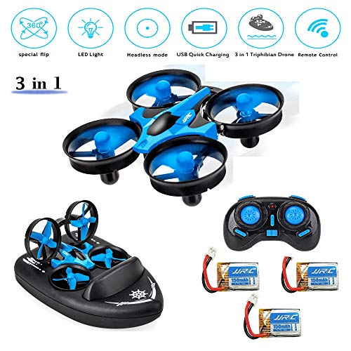 PinPle JJRC H36F Mini RC Drone, 3 in 1 RC Quadcopter Support RC Vehicle RC Hovercraft Boat Mode 360° Flips Headless One Key Return, Best Drone for Kids Beginners Children Toys Gift + 3 Battery (Hover Boat)