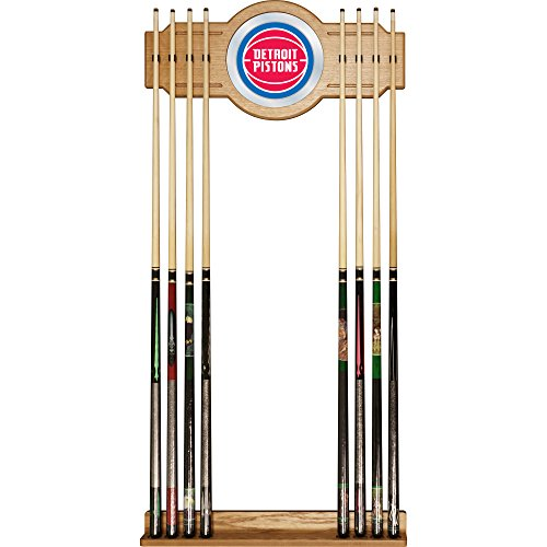 NBA Detroit Pistons Billiard Cue Rack with Mirror by Trademark Gameroom