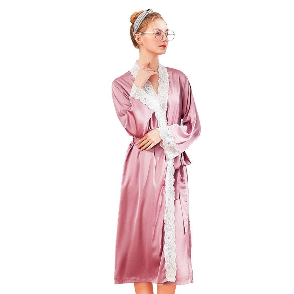 Albornoz Kimono largo para mujeres, batas de satén sedosas, camisón de dama de honor, camisón, mangas largas de encaje: Amazon.es: Hogar