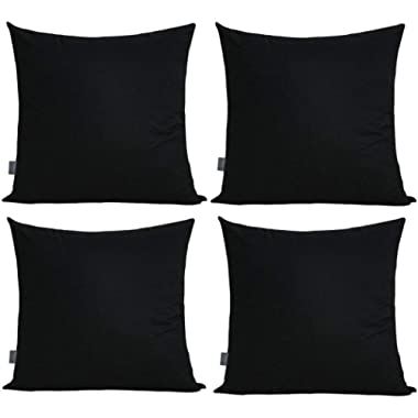 """4-Pack 100% Cotton Comfortable Solid Decorative Throw Pillow Case Square Cushion Cover Pillowcase 17.7"""" x 17.7"""" (Black)"""