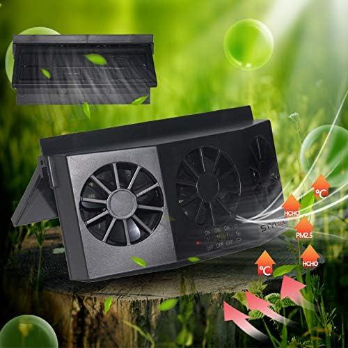 STYLOOC Solar Powered Car Window Windshield Auto Air Vent Fan Auto Ventilator System,Exhaust Fan Vehicle Radiator Vent with Ventilation Black