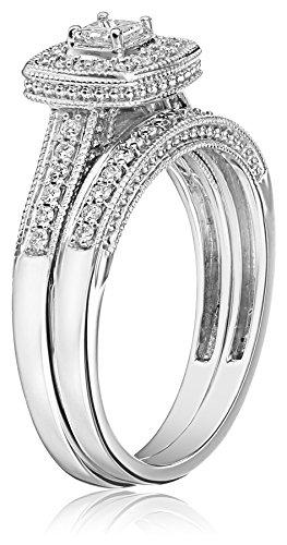 IGI Certified 14k White Gold Princess Cut Diamond Bridal Ring Set (0.5 cttw, H I Color, I1 I2 Clarity)
