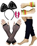 80s Costume Accessories Set Leg Warmer Fishnet Glove Earring Headband Bracelet and Bead
