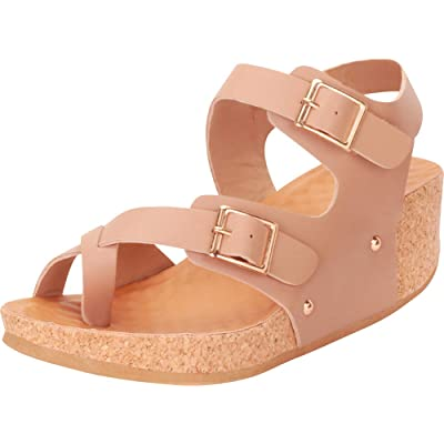 Cambridge Select Women's Toe Ring Crisscross Strappy Studded Chunky Platform Low Wedge Sandal | Platforms & Wedges