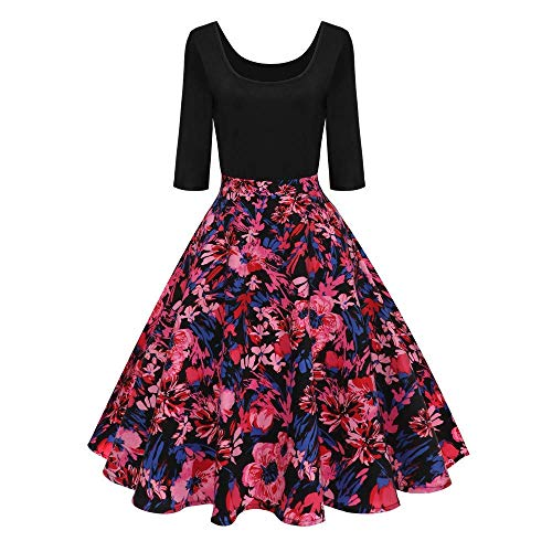 Women's Vintage A-line Printed Pleated Flared Skirts Christmas Dress(Red X-Large)