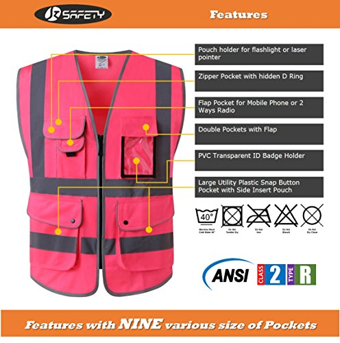 JKSafety 9 Pockets Class 2 High Visibility Zipper Front Safety Vest With Reflective Strips, Meets ANSI/ISEA Standards (Medium, Pink) by JKSafety (Image #2)