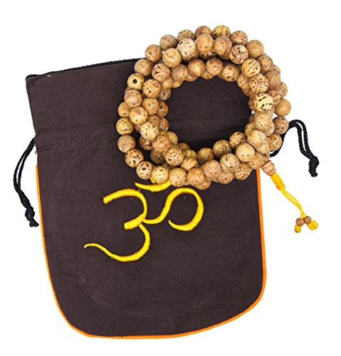 Bodhi Seed Mala - Unisex Yoga Meditation 108 Tibetan Natural Bodhi Seeds Prayer Beads Mala Wrap Bracelet Necklace (Polished Dragon Eye Bodhi Seeds)
