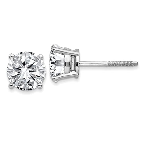 39c0e44f7 FB Jewels 14K White Gold 3.00ct. 7.5mm Round Moissanite 4-Prong Basket  Screw Back Earring: Amazon.ca: Jewelry