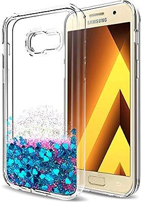 LeYi Compatible con Funda Samsung Galaxy A5 2017 Silicona Purpurina Carcasa con HD Protectores de Pantalla,Transparente Cristal Transparente Gel ...