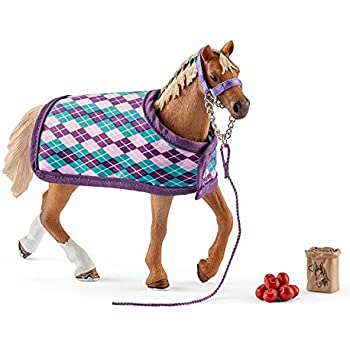 Action Figures Schleich Horse Club English Thoroughbred Horse Toy Figure & Blanket Toys & Hobbies